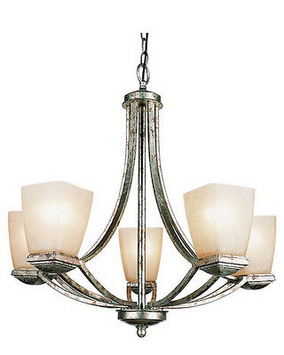 Gold Leaf And Champagne Frosted Glass 5 Light Chandelier