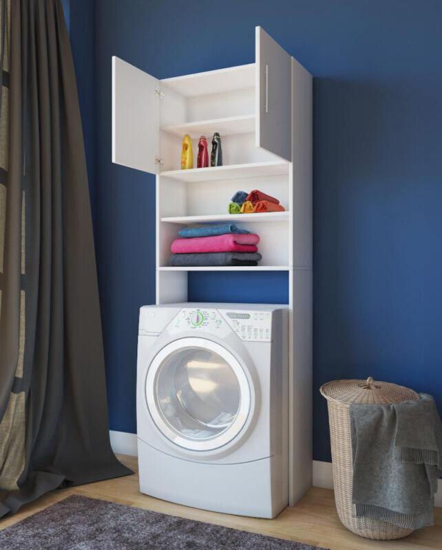 Waschmaschinenschrank White Shelf For Washers Superstructure Überschrank Cabinet