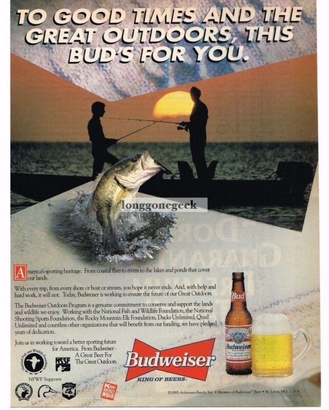 1995 Budweiser Beer Fishermen Bass Fishing Silhouette Vintage Print Ad