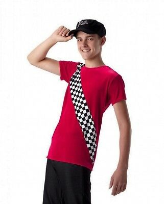 Finish Line Dance Costume Men's Red Velvet SHIRT ONLY Racing Team AL AM AS CXS