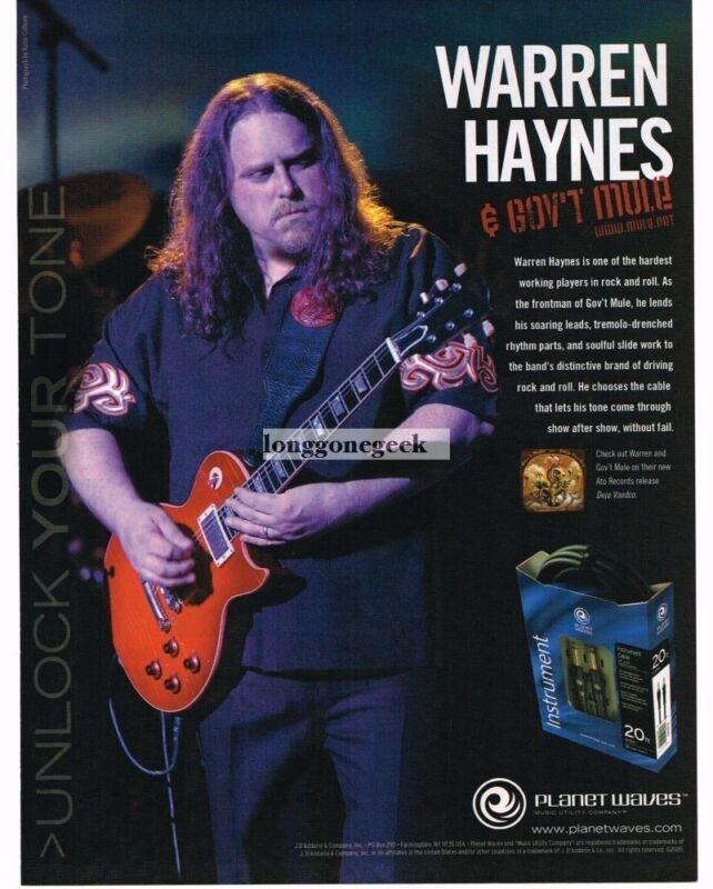 2005 PLANET WAVES Guitar Cables WARREN HAYNES Gov