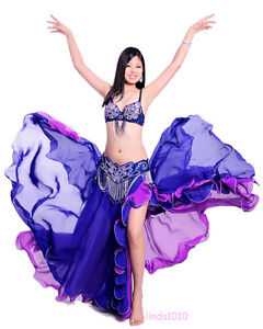 New-Belly-Dance-Costume-3-Pics-Bra-Belt-Skirt-34B-C-36B-C-38B-C-40B-C-7-Colors