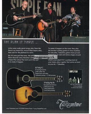 2008 TAKAMINE Acoustic Guitars SIMPLE PLAN Vintage Ad