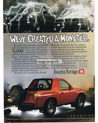 1989 Isuzu Amigo Red Sport Truck Vtg Print Ad