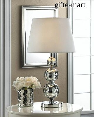 Silver Stacked glass retro DISCO BALL bubble MIRROR bedside end Table Lamp shade - Table Disco Ball