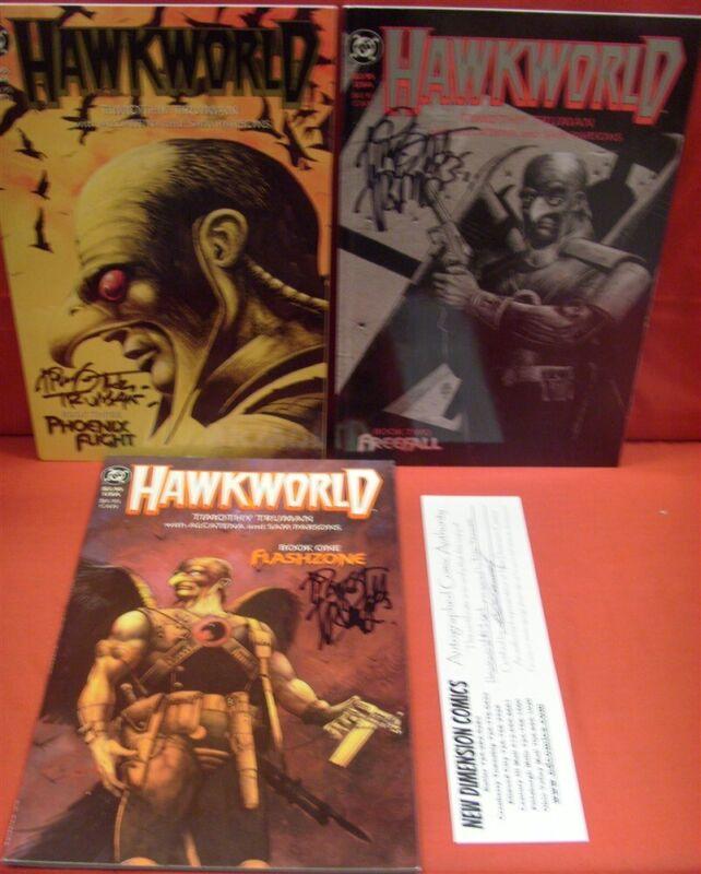 HAWKWORLD 1-3 DC COMIC SET COMPLETE HAWKMAN JLA SIGNED TRUMAN PARSONS 1989 NM