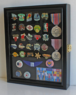 Small Wall Shadow Box Cabinet for Pin and Medal Display Case Glass Door LOCKABLE - Glass Shadow Box
