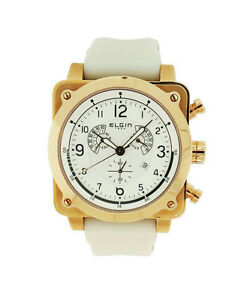 Elgin-1863-72103-1-Mens-Round-Chronograph-Date-Rose-Gold-Tone-Silicone-Watch