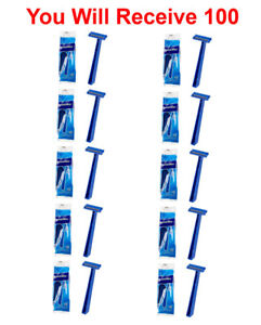 100-Pack Super Max Men's Disposable Razors Twin Blade Shavers Bulk Wholesale