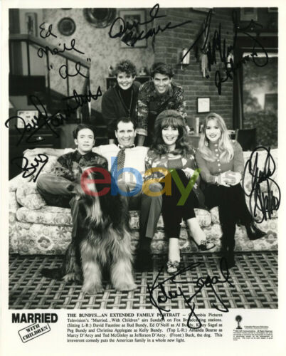 Married with Children - Rare Full Cast Vintage Signed 8x10 Photograph reprint