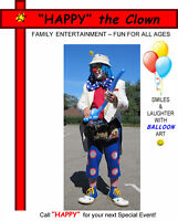 """""""HAPPY"""" the Clown will Entertain your Event !"""