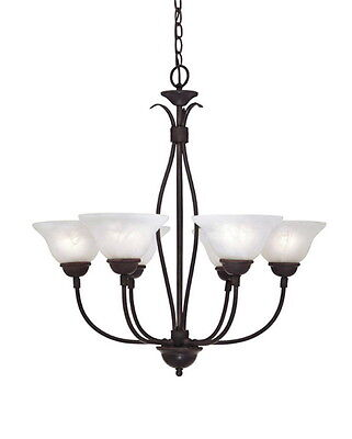 Natural Iron With Alabaster Glass 6 Light Chandelier