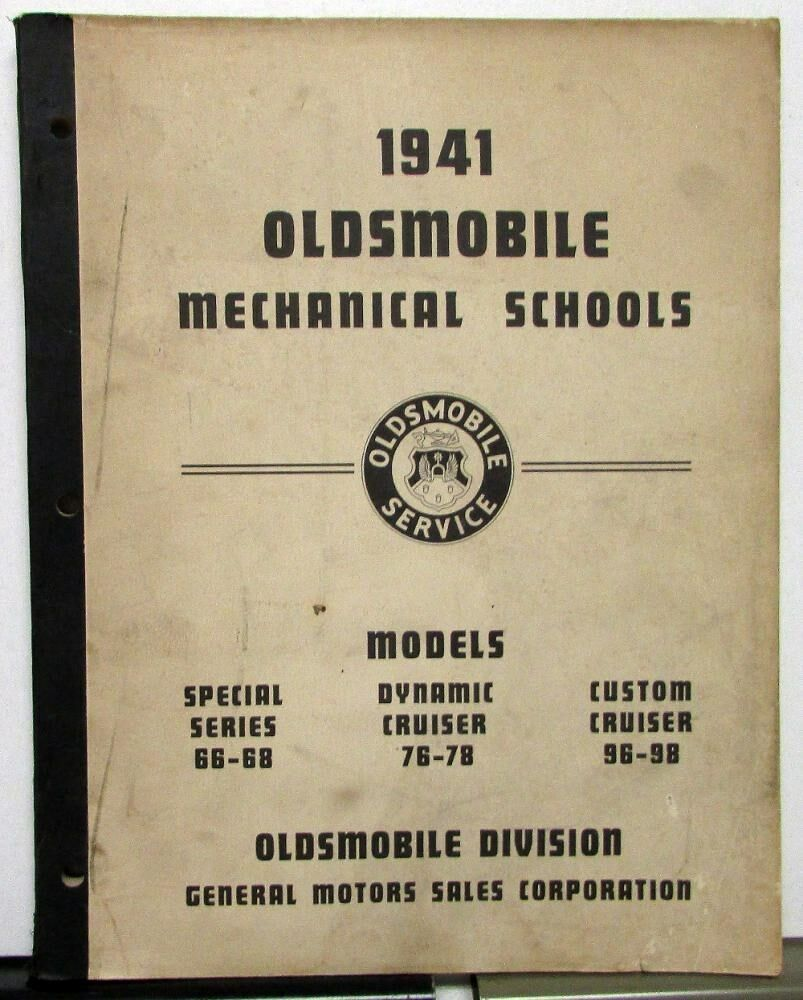 1941 Oldsmobile Dealer Service Shop Repair Mechanical Training Program Manual