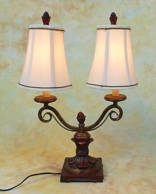 Tischlampe Lampe Tischleuchte 2-armig Landhaus antik Optik Stoffschirm PQ013-b