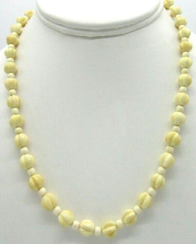 "Vintage Dainty Hand Carved Bovine Bone Beaded Necklace 17"""