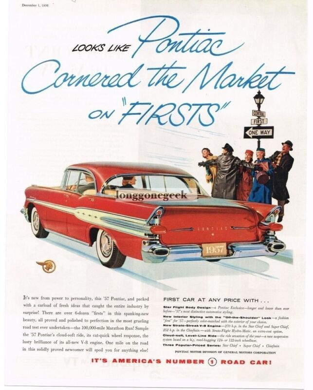 1957 Pontiac Star Chief Red 4-door Car Automobile 1956 Vintage Print Ad