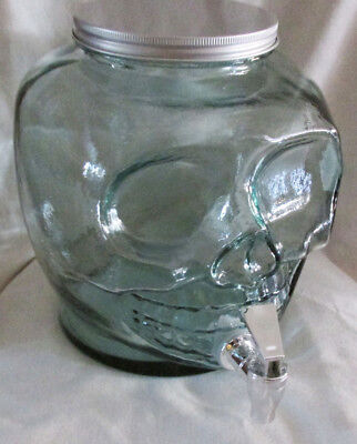 Halloween Beverage Dispenser (SKULL BEVERAGE DISPENSER RECYCLED GLASS 6 QT. LARGE HALLOWEEN DECANTER)