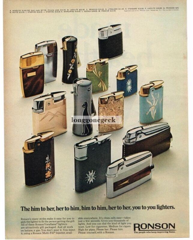 1968 Ronson Cigarette Cigar Lighters Vintage Ad