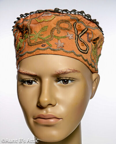 Vintage African Khufi Hat Lt. Brown W/ Multi Color Embroidered Design Lg
