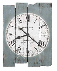 Weathered Uneven Wood Panel White Dial Wall Clock | 625621 Mack Road