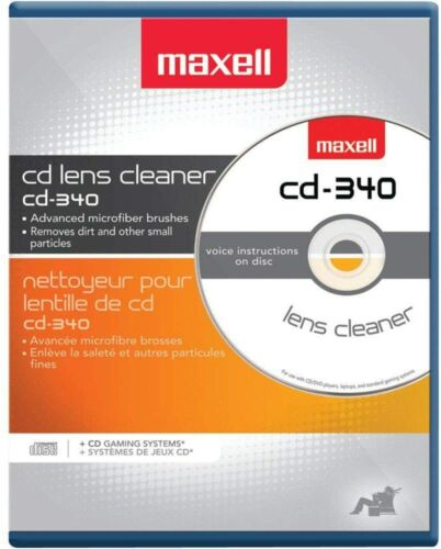 Maxell Compact Disc Cleaner CD-340 190048 CD/CD-ROM Laser Lens Cleaner