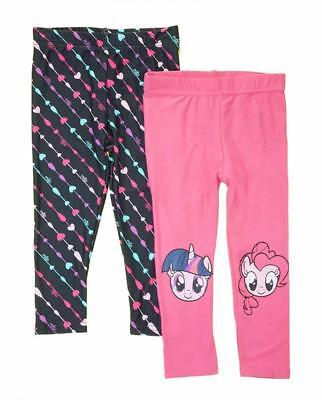 My Little Pony Girls 2 Pack Graphic Print Leggings Size 2T 3T 4T 4 5 6 6X (My Little Pony Leggings)