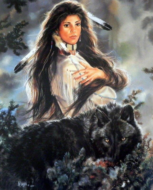 """Maija  Black Magic Wolf Poster Print  20.5"""" x 24.5"""""""