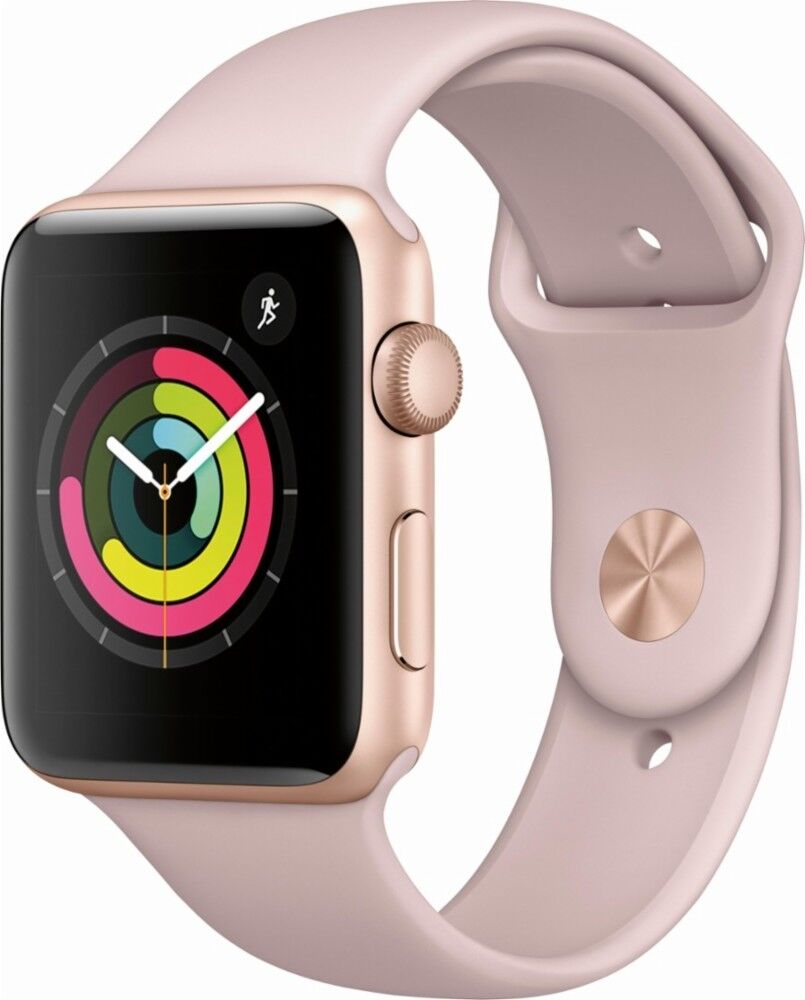 New Apple Watch Series 3 42mm Smartwatch GPS Aluminum Case Sport Band Pink