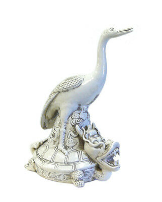 Chinese Off White Porcelain Crane on Dragon Turtle Figure cs705