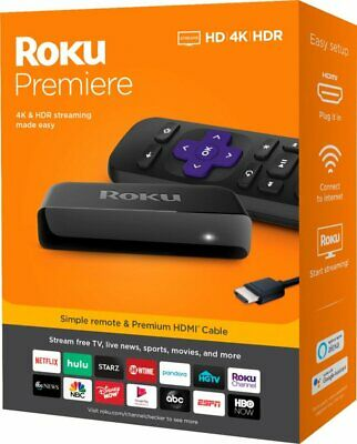 Roku 4K Ultra HD HDR Media Streaming Stick w/ Remote Control, Premium HDMI Cable