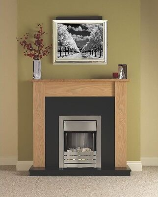 ELECTRIC FIRE OAK FIREPLACE SURROUND BLACK HEARTH BRUSHED STEEL PEBBLE FIRE for sale  Manchester