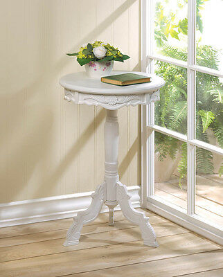 SMALL ROUND WHITE WOOD ROCOCO ACCENT END TABLE SHABBY ~10016004