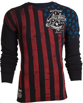 Flag Thermal Shirt - ARCHAIC AFFLICTION Mens LONG SLEEVE THERMAL Shirt NATION American USA FLAG $58 b