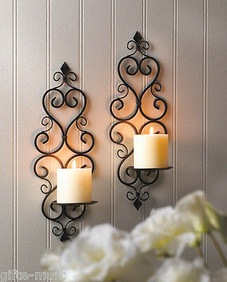 2 Black iron Artisanal Sconce WALL mount pillar scrollwork candle holder PAIR Wall Sconce Iron Candle Holder