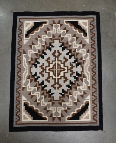 """Very Fine Navajo Rug, Tapestry Weave Two Gray Hills, c. 1980 43"""" x 31"""""""