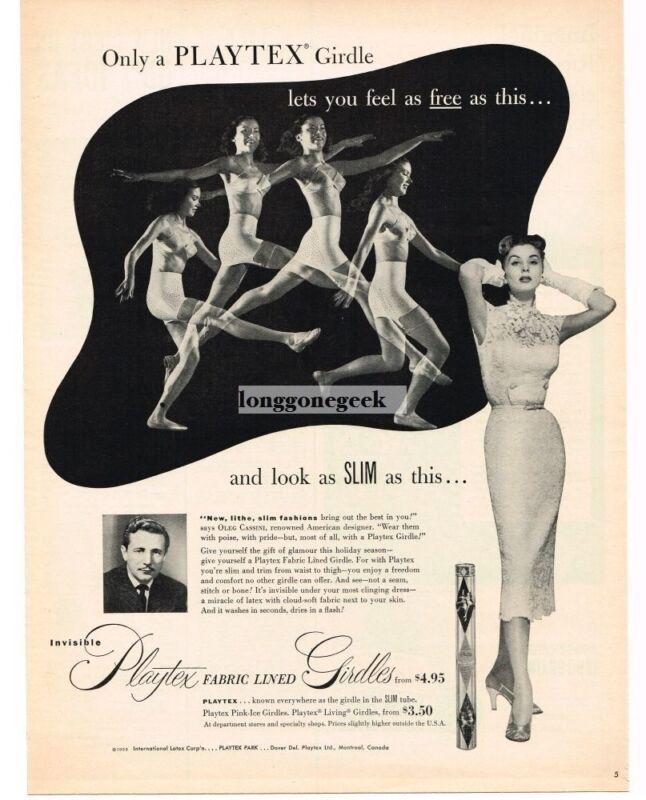 1952 PLAYTEX Girdles Woman Jumping Dancing Vintage Print Ad