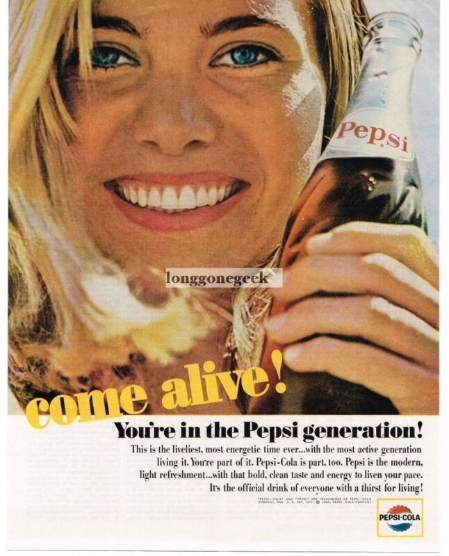 1964 Pepsi Cola Soda Blonde Girl Vintage Ad
