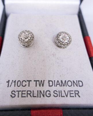 Diamond - 1/10 CT. T.W. Double Halo Diamond Stud Earrings in Sterling Silver 10 Ct Diamonds Ring