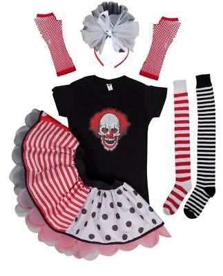 Freaky Halloween Clown Ladies Fancy Dress Tutu Skirt T- Shirt Costume Socks - Freaky Halloween Clowns