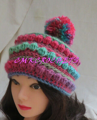 (Crochet Hat rainbow of color hat Fashion appeal winter  Mom Sister FREE SHIP A7)