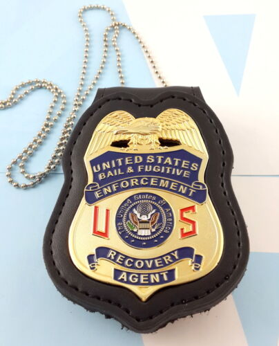 Bail & Fugitive Enforcement Recovery Agent Metal Badge 2 3/4 Inch & Leather Hold