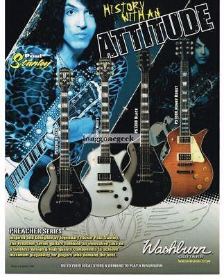 2008 WASHBURN Preacher Series Electric Guitars PAUL STANLEY Vintage Ad