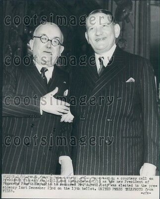 1954 France Presidents Vincent Auriol & Rene Coty Press Photo