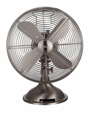 Oscillating Table Fan 12 in. Brushed Nickel 3-Speed All-Meta
