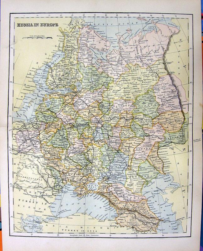 POLAND UKRAINE BELARUS MAP MOSCOW LATVIA LITHUANIA, OId 1876 Art Print Engraving