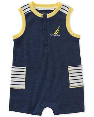 Nautica Infant Boys Navy Blue Romper Size 3/6M 6/9M 12M 18M 24M $45
