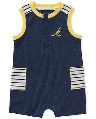 Nautica Infant Boys Navy Blue Romper Size 3/6M 6/9M 12M 18M 24M $45