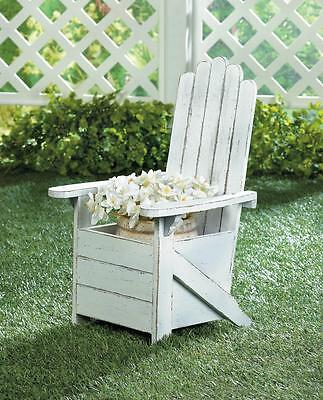 distressed white shabby ADIRONDACK CHAIR planter plant stand outdoor flower pot