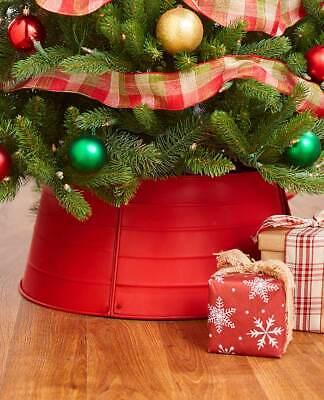Red Metal Tree Ring Rustic Decorative Christmas Tree Collars .