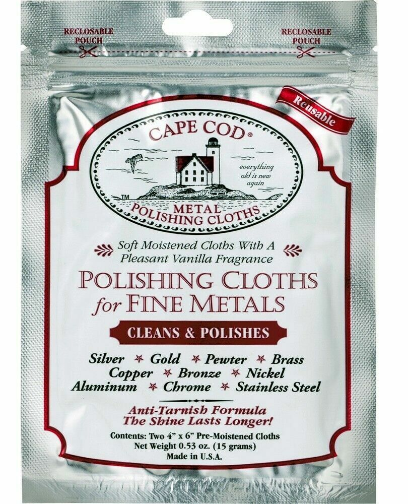 Jewellery - 2pc CAPE COD Fine Metal Polishing Cloths, Polish Silver, Gold Jewellery, watches